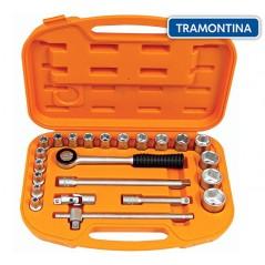 Kit de Llaves Tubo y Dados Hexagonales - 23 piezas - Tramontina PRO - 8 a 32 mm