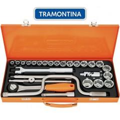Kit de Llaves Tubo y Dados Hexagonales - 27 piezas - Tramontina PRO - 10 a 32 mm