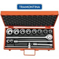Kit de Llaves Tubo y Dados Hexagonales - 14 piezas - Tramontina PRO - 22 a 50 mm