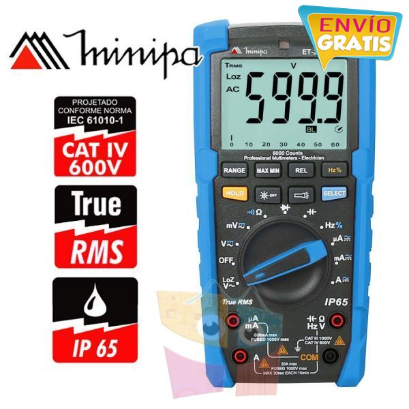 Multimetro Digital - Minipa - ET-2082E - True RMS AC / VDC 1000V / VAC 750V / ADC 20A / AAC 20A