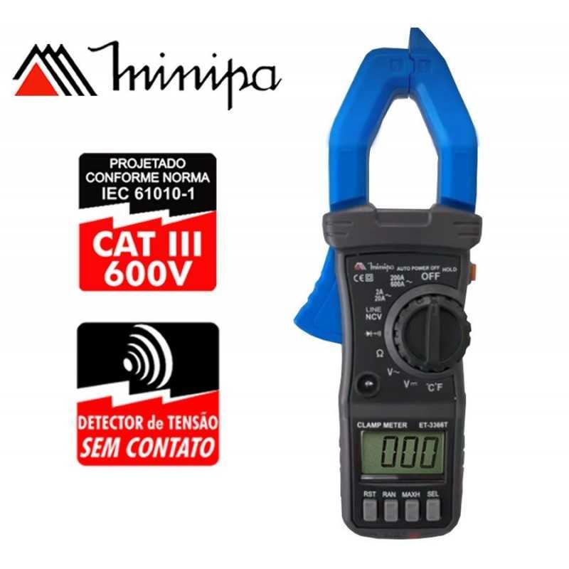 Pinza Amperimetrica - Minipa - ET-3366T - VDC 600V / VAC 600V / AAC 600A / TEMPERATURA