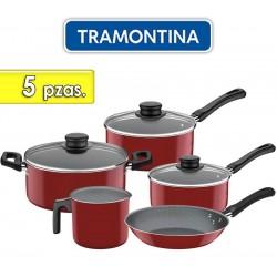 Juego de ollas de aluminio - 5 piezas - Tramontina - Caribe Rojo