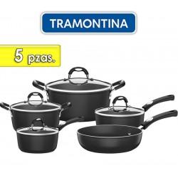 Juego de ollas de aluminio - 5 piezas - Tramontina - Monaco Negra