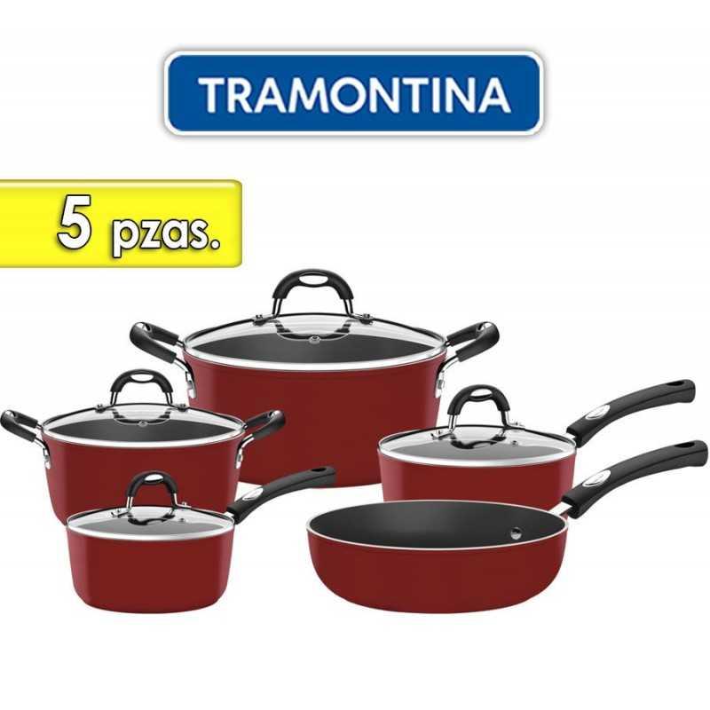 Juego de ollas de aluminio - 5 piezas - Tramontina - Monaco Rojo