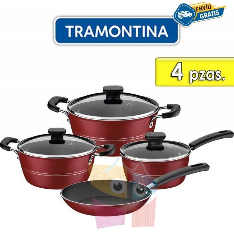 Juego de ollas de aluminio - 4 piezas - Tramontina - Sicilia Rojo