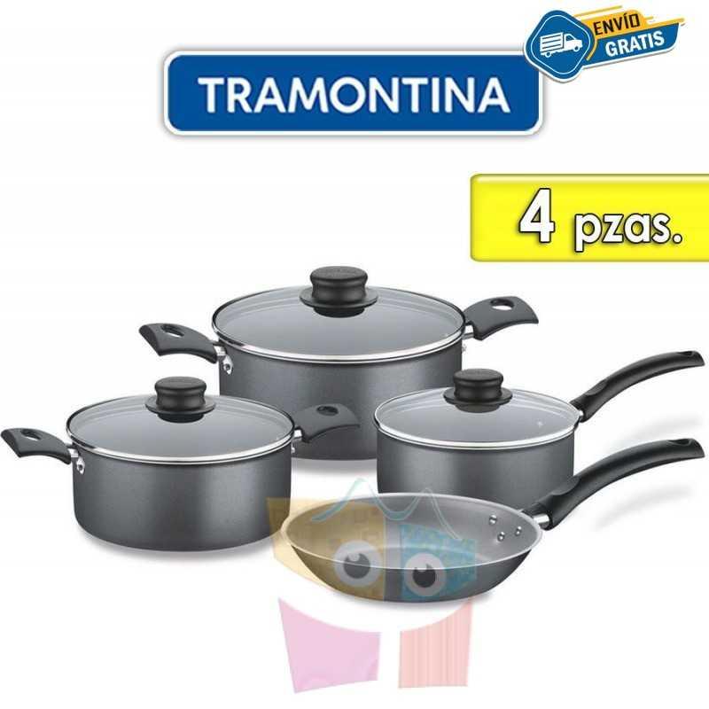 Juego de ollas de aluminio - 4 piezas - Tramontina - Turim Negra