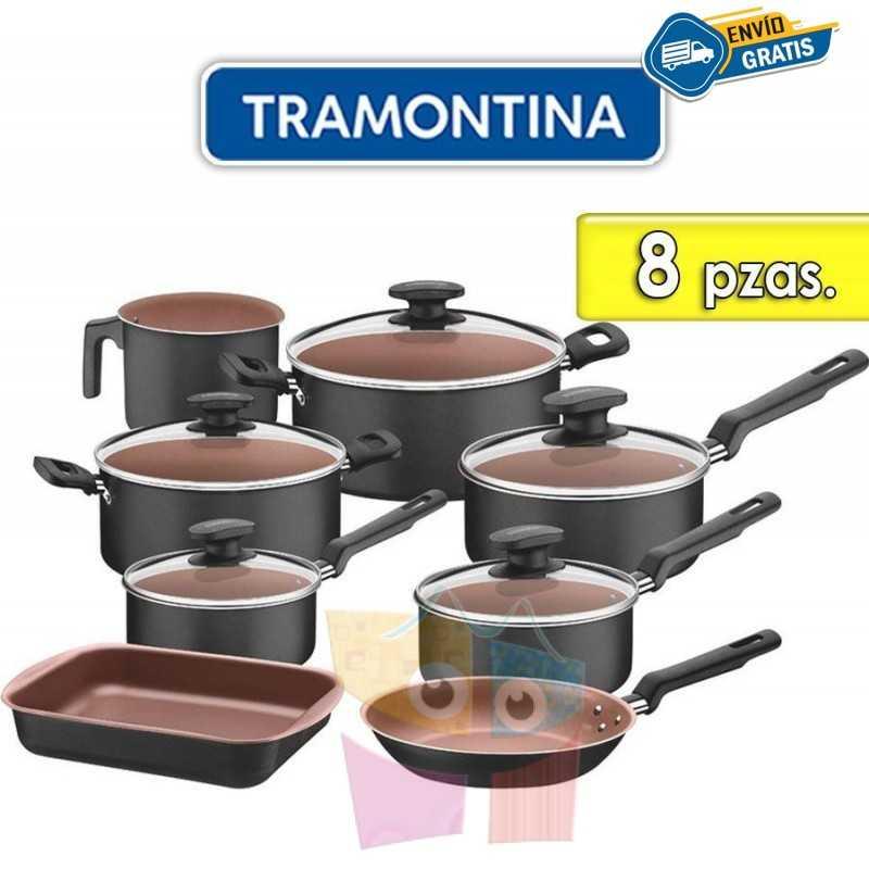 Juego de ollas de aluminio - 8 piezas - Tramontina - Turquia Negra y Bronce