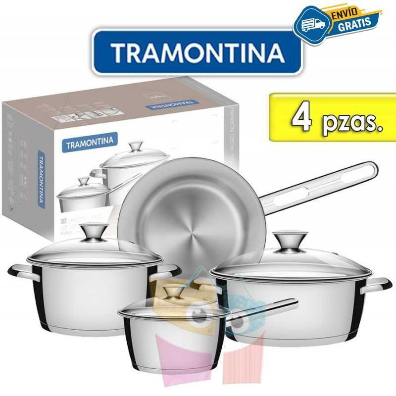 Juego de ollas de Acero Inoxidable Tapa de Vidrio - 4 piezas - Tramontina - Allegra