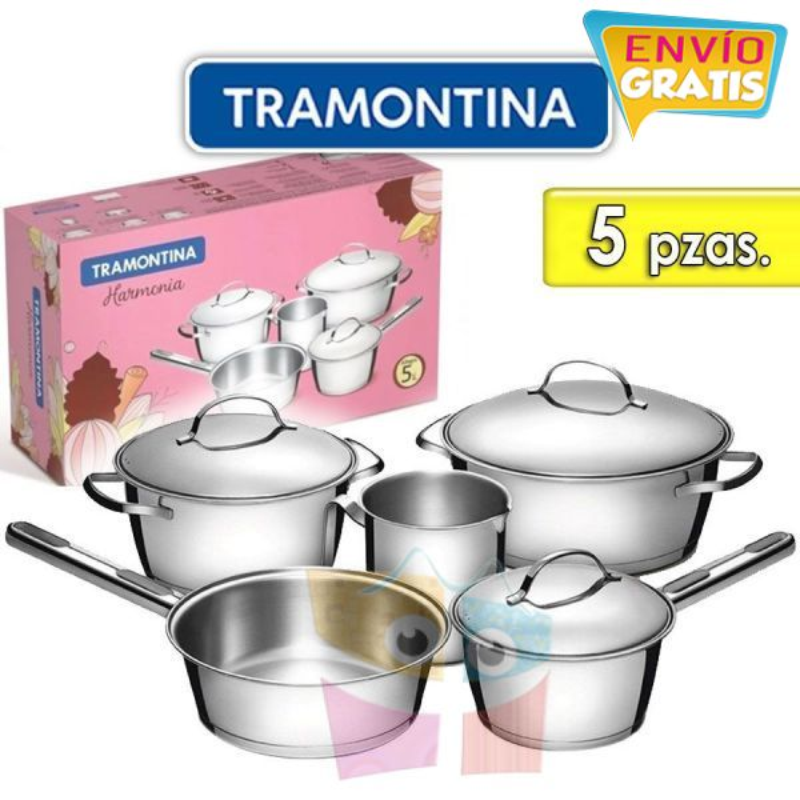 Juego de ollas de Acero Inoxidable - 5 piezas - Tramontina - Allegra