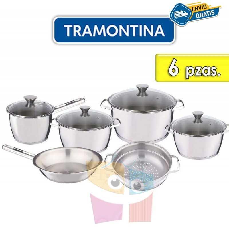 Juego de ollas de Acero Inoxidable Tapa de Vidrio - 6 piezas - Tramontina - Allegra