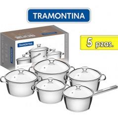 Juego de ollas de Acero Inoxidable Tapa de Vidrio - 5 piezas - Tramontina - Allegra
