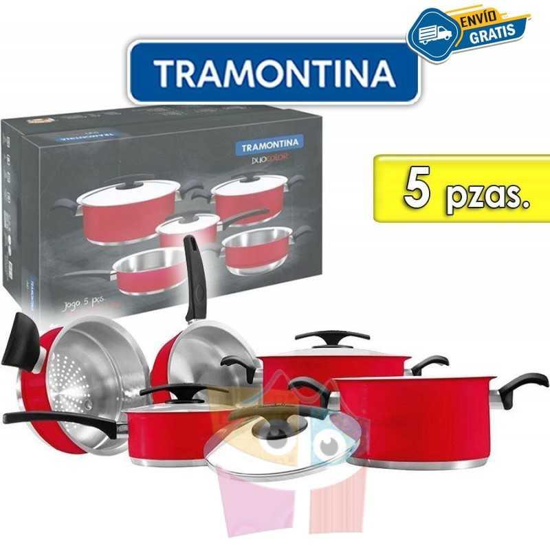 Juego de ollas de Acero Inoxidable - 5 piezas - Tramontina - Duo Color Rojo