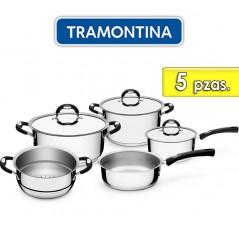 Juego de ollas de Acero Inoxidable - 5 piezas - Tramontina - Duo Silicone