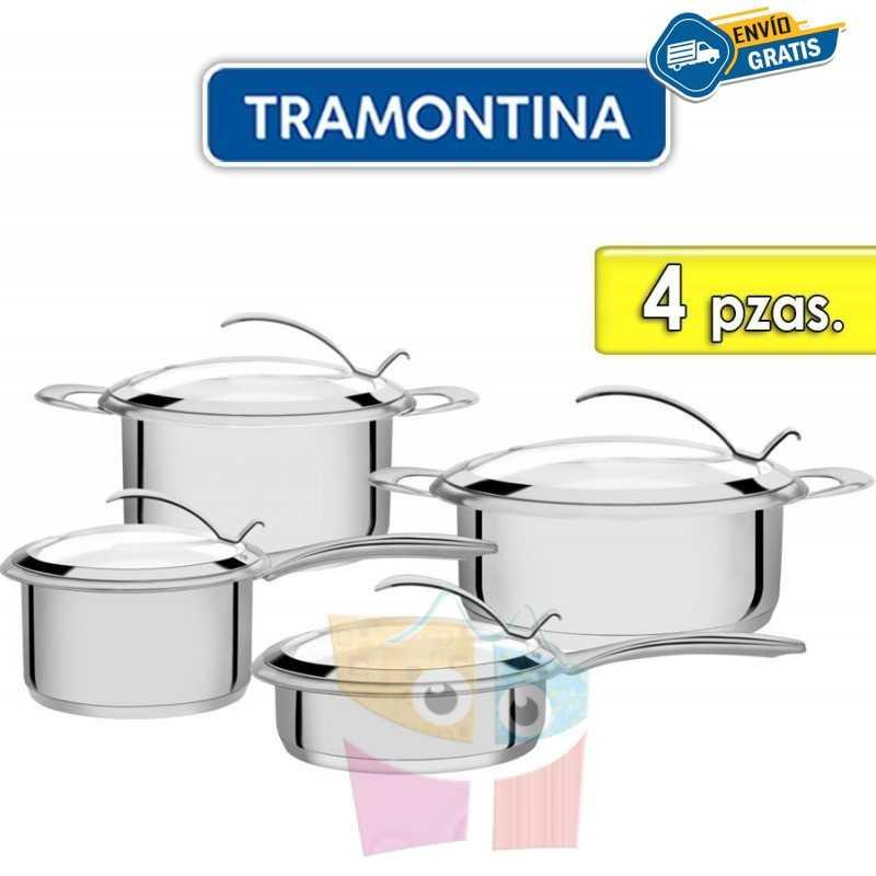 Juego de ollas de Acero Inoxidable Tapa de Vidrio - 4 piezas - Tramontina - Rotonda Ceramic