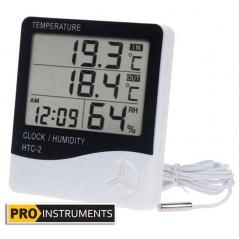 Termohigrometro Digital LCD con Sonda - Pro Instruments - Temperatura y humedad interior y exterior
