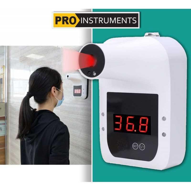 Termómetro Infrarrojo utomatico Corporal - Pared Fijo - Pro Instruments - Con alarma de fiebre Lectura instantánea, y precisa