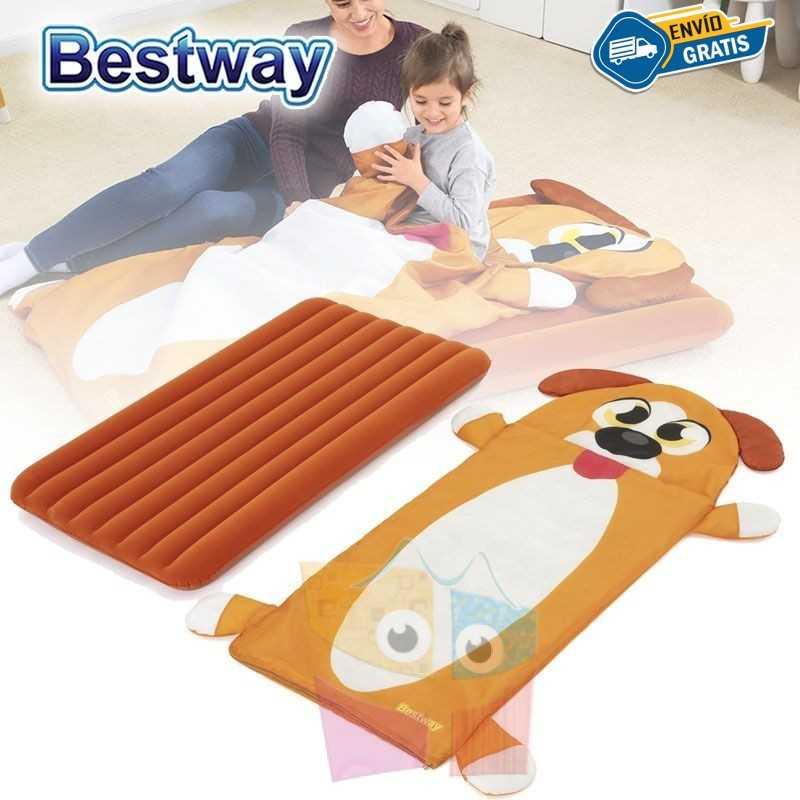 Colchon Inflable con Bolsa de Dormir Infantil - 1,32 x 0,76 x 0,10 Mtrs - Bestway - Cachorro + Inflador