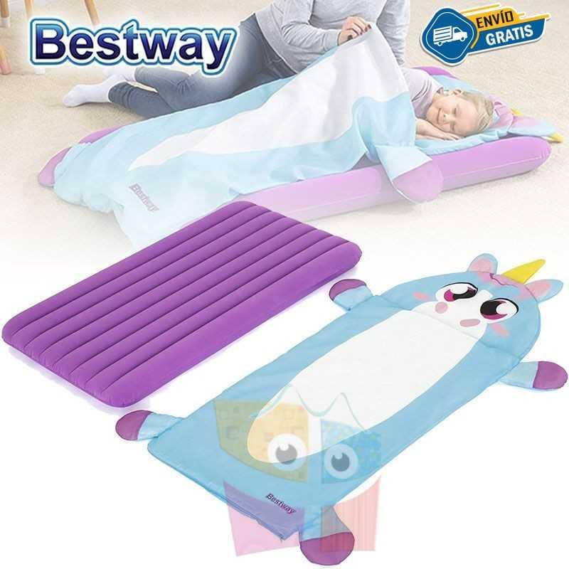 Colchon Inflable con Bolsa de Dormir Infantil - 1,32 x 0,76 x 0,10 Mtrs - Bestway - Unicornio + Inflador