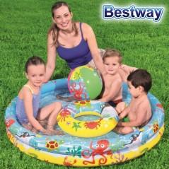 Piscina Infantil Inflable con Juguetes - 137 Lts - Ø 1,22 x 0,20 Mtr - Bestway + Inflador