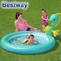 Piscina Infantil Inflable con Aspersor Caballito de Mar - 140 Lts - 1,88 x 1,60 x 0,86 Mtr - Bestway + Inflador