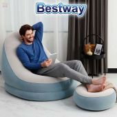 Sofa Puff Inflable - 1,22 x 0,94 x 0,81 Mtrs - Bestway - Comfort Cruiser Azul Grisaseo + Inflador