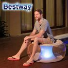 Sofa Puff Inflable con Luz Led Multicolor - 0,82 x 0,82 x 0,41 Mtrs - Bestway + Inflador