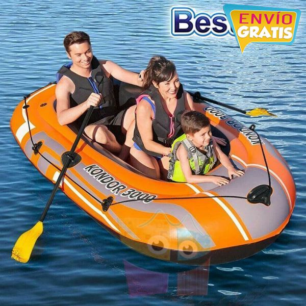 Bote Inflable con remos - 2,11 x 1,15 Mtrs. - Bestway - Kondor 3000 Hydro-Force