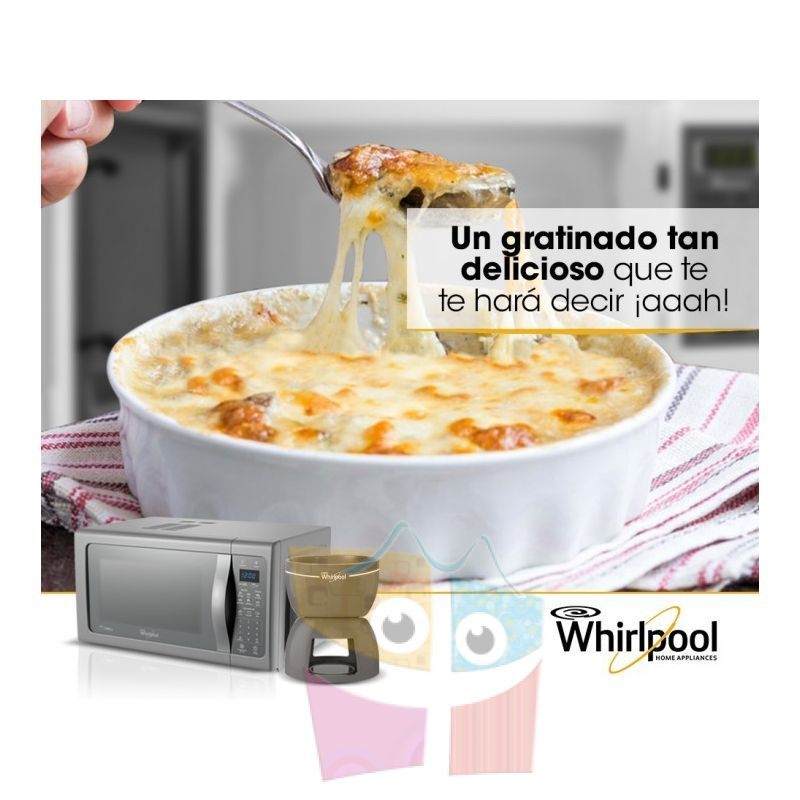 Microondas whirlpool 25 ltrs wmp25sds con grill y Cocina whirlpool con grill