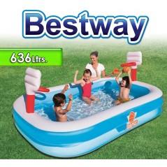 Piscina Infantil - 636 Lts - 2,54 x 1,68 x H. 1,02 Mtr - Bestway - Basketball - 54122 + Inflador