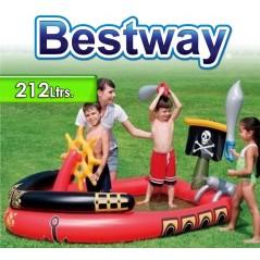 Piscina Infantil - 212 Ltr - 1,91 x 1,40 x H. 0,97 Mtr - Bestway - Barco Pirata - 53041 + Inflador
