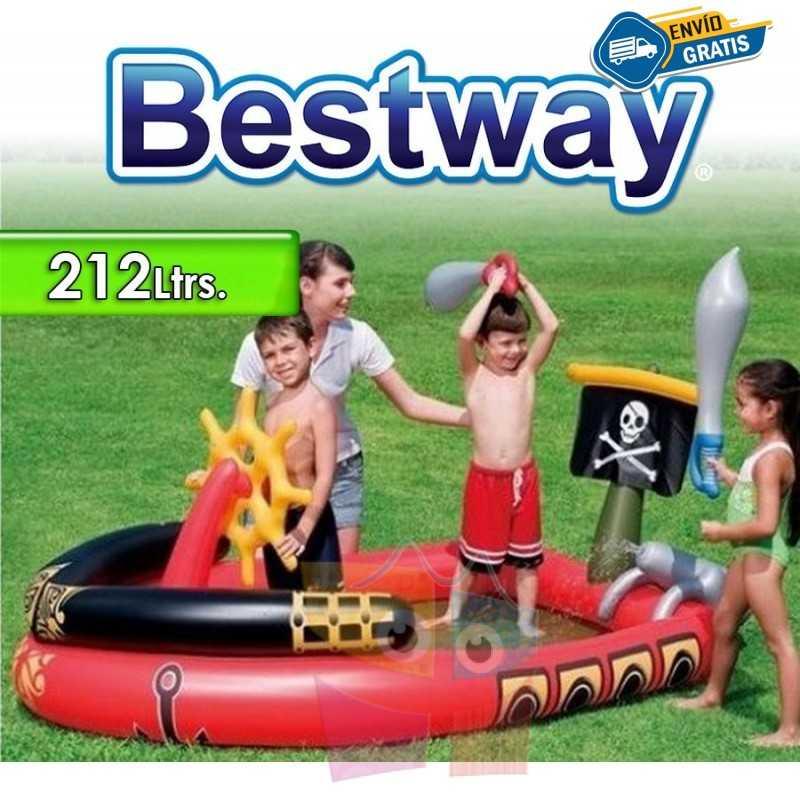 Piscina Infantil - 212 Ltr - 1,91 x 1,40 x H. 0,97 Mtr - Bestway - Barco Pirata - 53041