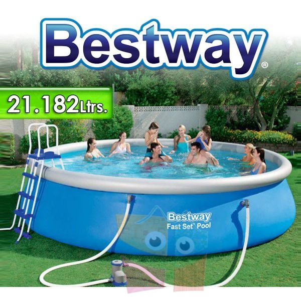 Piscina Bestway - 57212 - 21.182 Ltrs. - Redonda - Con borde inflable + Inflador