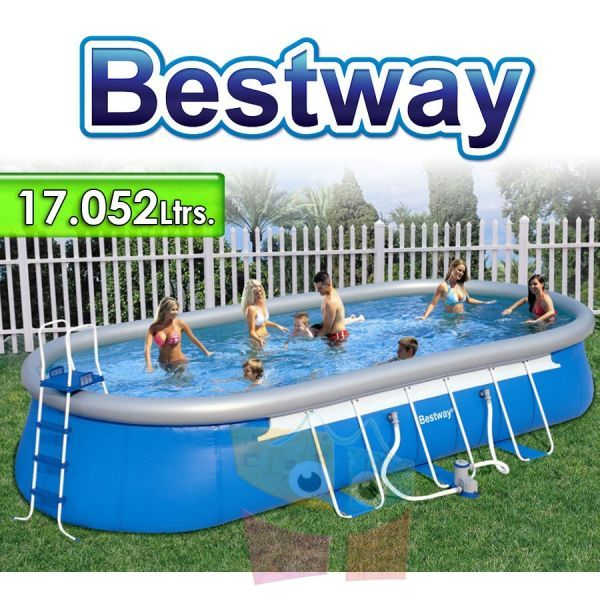 Piscina Bestway - 56119 - 17.052 Ltrs. - Ovalada - Con borde inflable + Inflador