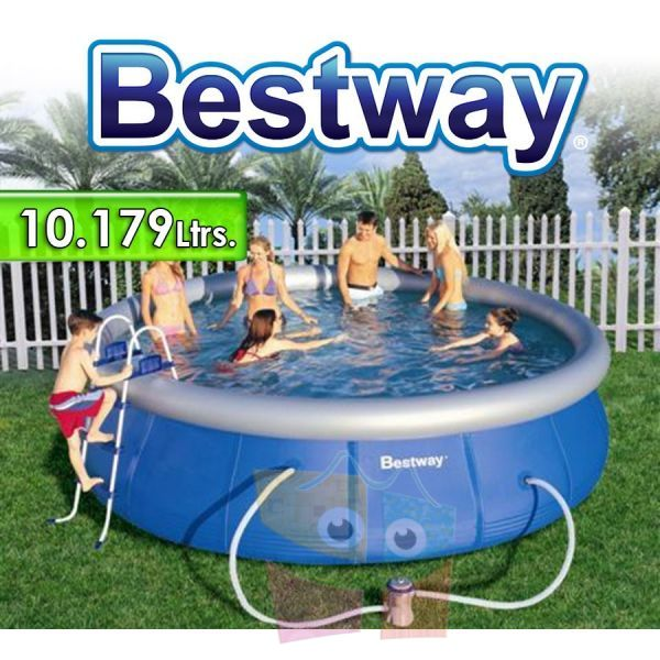 Piscina Bestway - 57121 - 10.179 Ltrs. - Redonda - Con borde inflable + Inflador