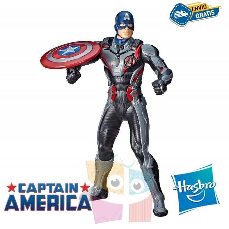 Muñeco Electronico Capitán América 33 cms - Shield Blast - Hasbro - Titan Hero Power FX - Marvel Avengers