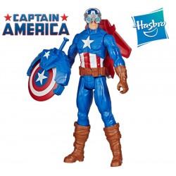 Muñeco Capitán América Blast Gear 30 cms con Accesorios - Hasbro - Titan Hero - Marvel Avengers