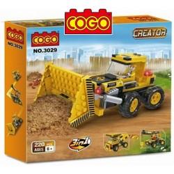 Maquinaria de Construccion 3 en 1 - Tractor o Camion o Grua - Juego de Construcción - Cogo Blocks - 220 piezas