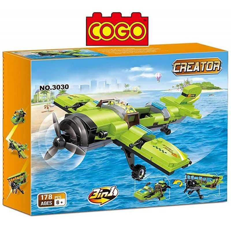 Set 3 en 1 - Avion, Avioneto o Lancha - Juego de Construcción - Cogo Blocks - 178 piezas