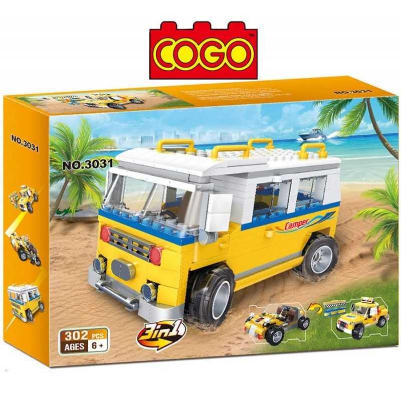 Set 3 en 1 - Jeep, Camioneta o Buggy - Juego de Construcción - Cogo Blocks - 302 piezas