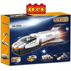 Set Espacial 3 en 1 - Transbordador, Nave o Estacion Espacial - Juego de Construcción - Cogo Blocks - 168 piezas