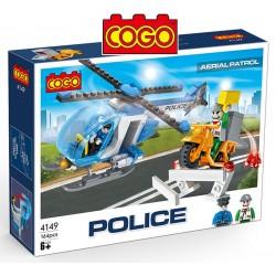 Helicóptero Policial - Juego de Construcción - Cogo Blocks - 164 piezas