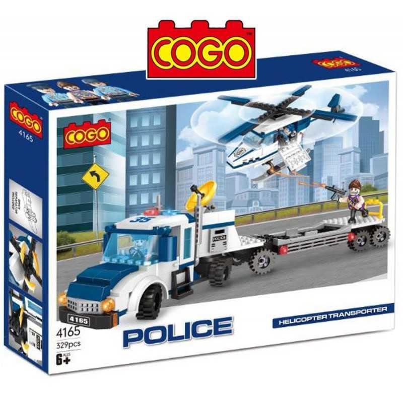 Camión y Helicoptero Policial - Juego de Construcción - Cogo Blocks - 329 piezas