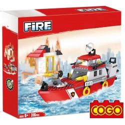 Rescate en Barco de Bomberos - Juego de Construcción - Cogo Blocks - 318 piezas