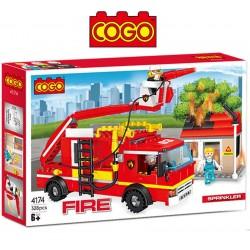 Rescate en Camión Hidrante de Bomberos - Juego de Construcción - Cogo Blocks - 328 piezas
