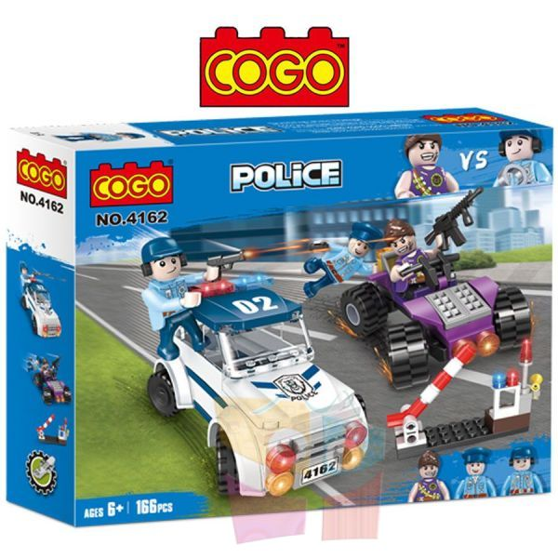Persecución en Auto Policial - Juego de Construcción - Cogo Blocks - 166 piezas