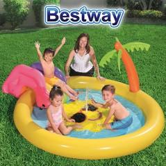 Piscina Infantil Inflable con Aspersor Playa Soleada - 59 Lts - 2,37 x 2,01 x 1,04 Mtr - Bestway + Inflador