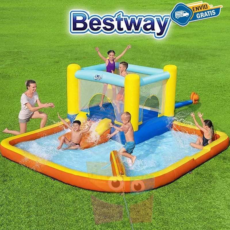 Mega Parque Acuático Inflable con Tobogan Beach Bounce H2OGO! - 3,65 x 3,4 x 1,52 Mtr - Bestway