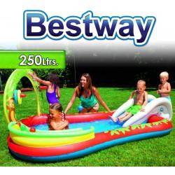 Piscina Infantil - 250 Lts - 2,79 x 1,73 x H. 1,02 Mtr - Bestway - Animales - 53051 + Inflador
