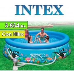 Piscina Intex - 28126 - 3.854 Ltrs. - Redonda - Con borde inflable + Inflador