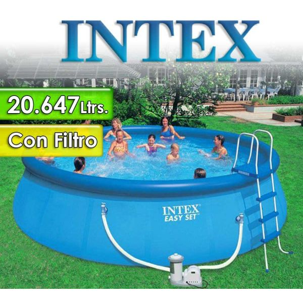 Piscina Intex - 28176 - 20.647 Ltrs. - Redonda - Con borde inflable + Inflador